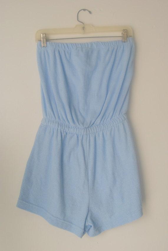 Vintage 1980s pale blue terry cloth romper by hipandvintage