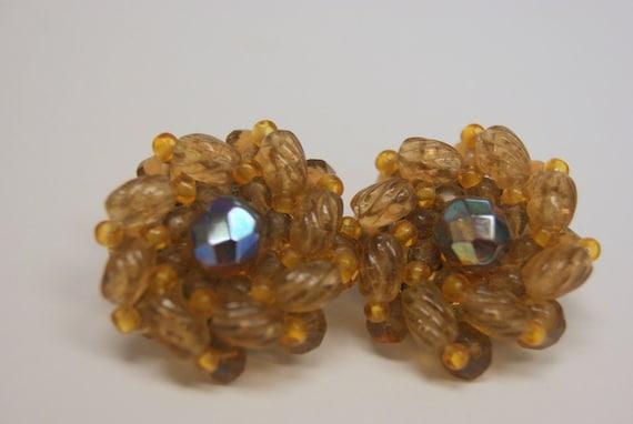Vintage Czech Glass Earrings in Amber marked Germany