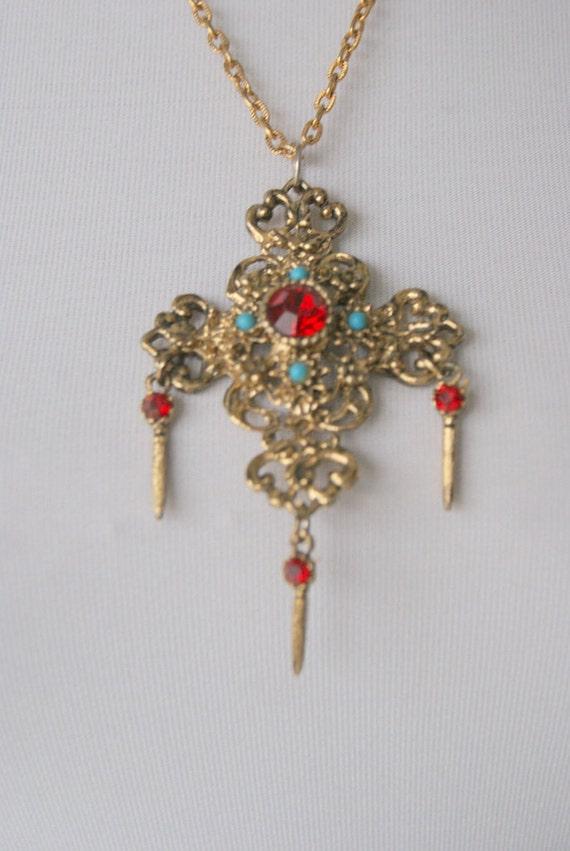 Vintage bejeweled baroque cross Necklace