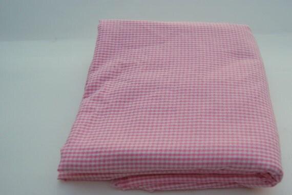 Vintage Pink Gingham Seersucker Fabric 1 3/4 Yards of 60 inch