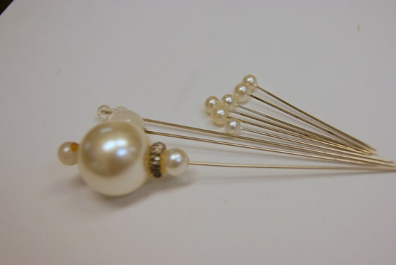 Vintage lot of 9 Pearl and Crystal Hat Pins.. Something Old