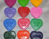 Heart with Words Recycled Crayons, Total of 24-Class Room Set.  Boy or Girl Kids Unique Party Favors, Crayons.