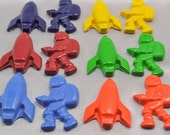 Recycled Crayons Spacemen Shaped - Set of 15 Total of 30 Crayons.  Boy or Girl Kids Unique Party Favors, Crayons.