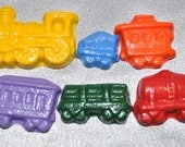 Train Shaped Recycled Crayons, Party Set For 20 Kids Total of 120 Crayons.  Boy or Girl Kids Unique Party Favors, Crayons.