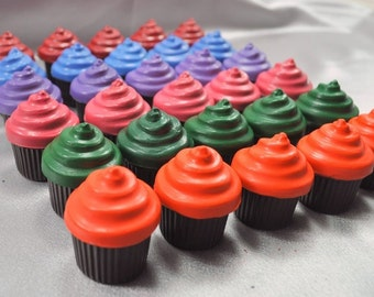 Cupcake Shaped Recycled Crayons, Total of 30 Cupcakes.  Boy or Girl Kids Unique Party Favors, Crayons.