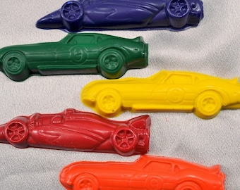 Sensory Car Crayons Race Cars Shaped / Total of 5.  Boy or Girl Kids Unique Party Favors, Crayons.