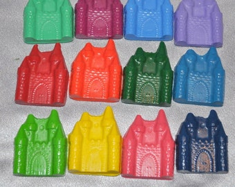 Sensory Crayons, Princess Party Favors, Recycled Crayons Castle Shaped - Set of 12.  Boy or Girl Kids Unique Party Favors, Crayons.