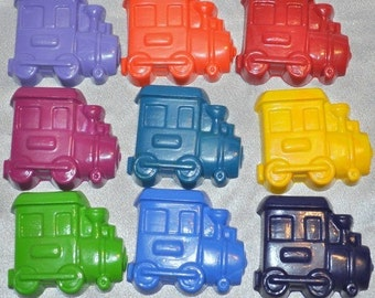 9 Trains, 9 Motorcycles and 9 Boats Recycled Crayons, Total of 27 Crayons.  Boy or Girl Kids Unique Party Favors, Crayons.