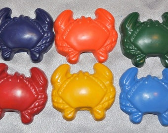 Large Crab Shaped Recycled Crayons, Total of 18.  Boy or Girl Kids Unique Party Favors, Crayons.