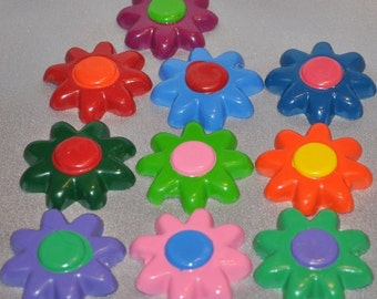 Flower Crayons, Flower Favors, Flower Treats, Flower Shaped - Total of 10.  Adult Coloring