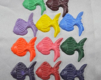 Fish Recycled Crayons Tropical Fish Shaped - Total of 11 Fish.  Boy or Girl Kids Unique Party Favors, Crayons.