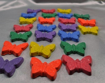 Butterfly Crayons, Butterfly Party Favors, Butterfly Shaped Recycled Crayons - Total of 24.  Boy or Girl Kids Unique Party Favors, Crayons.