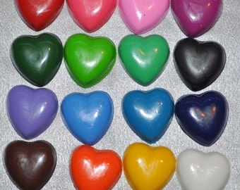 Heart Recycled Crayons, Total of 16 Hearts.  Boy or Girl Kids Unique Party Favors, Crayons.