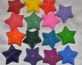 Star Crayons, Star Party Favors, Recycled Crayons Star Shaped Total of 15.  Boy or Girl Kids Unique Party Favors, Crayons.