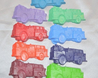 Sensory Fire Truck Recycled Crayons, Total of 9.  Boy or Girl Kids Unique Party Favors, Crayons.