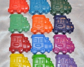 Train Crayons, Train Party Favors, Recycled Crayons Train Shaped Total of 12.  Boy or Girl Kids Unique Party Favors, Crayons.