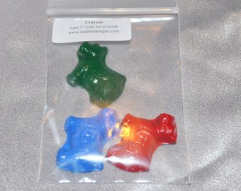Scottish Terrier Dog Shaped Recycled Crayons, Total of 12 Bags Each Bag Will Have 3 Dogs, Total of 36 Crayons.