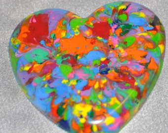 Multi Colored Hearts Recycled Crayons, Total of 60.  Boy or Girl Kids Unique Party Favors, Crayons.
