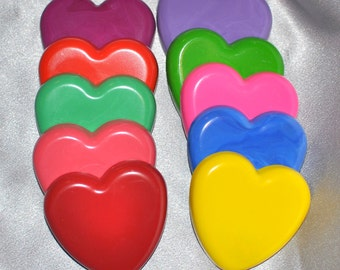 School Class Valentine Favors, Hearts Recycled Crayons, Total of 25.  Boy or Girl Kids Unique Party Favors, Crayons.