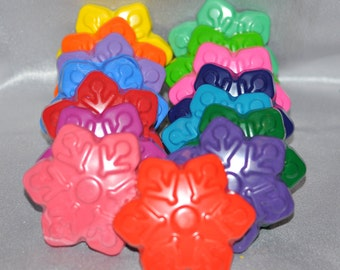 Snowflake Recycled Crayons, Total of 15.  Boy or Girl Kids Unique Party Favors, Crayons.