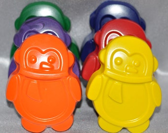 Recycled Crayons Penguin Shaped Total of 6.  Boy or Girl Kids Unique Party Favors, Crayons.