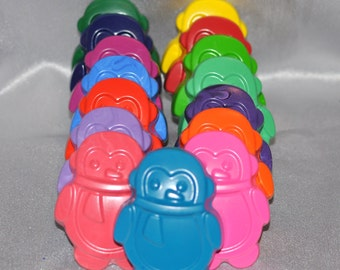 Recycled Crayons Penguin Shaped Total of 15.  Boy or Girl Kids Unique Party Favors, Crayons.  Adult Coloring