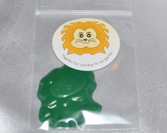 Lion Party Favor, Zoo Party Favors, Recycled Crayons And Stickers /20 Lion Stickers and 20 Lion Crayons