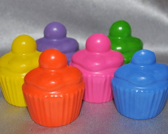 Recycled Crayons Cupcake with a flat back, Total of 6.  Boy or Girl Kids Unique Party Favors, Crayons.