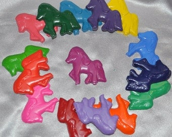 Recycled Crayons Pony Shaped Total of 15.  Boy or Girl Kids Unique Party Favors, Crayons.