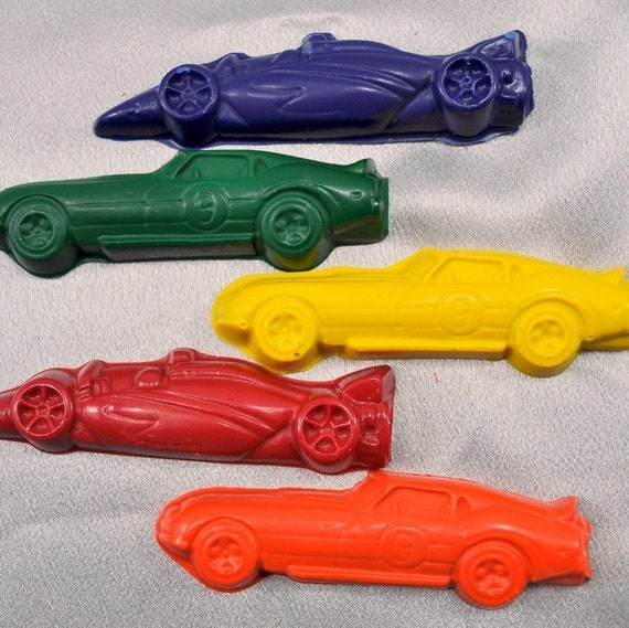 Recycled Crayons Race Cars Shaped / Total of 5.  Boy or Girl Kids Unique Party Favors, Crayons.