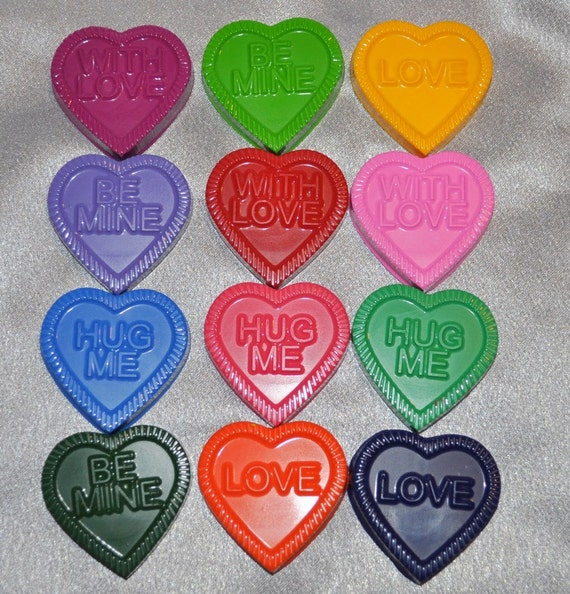 Hearts with Words, Recycled Crayons, Total of 48.  Boy or Girl Kids Unique Party Favors, Crayons.