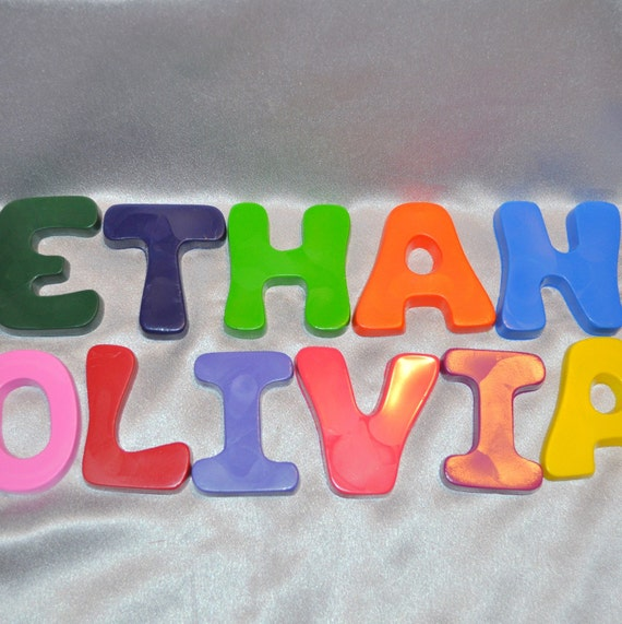 Recycled Crayons Name Letter shaped Total of 3 Letters.  Boy or Girl Kids Unique Party Favors, Crayons.
