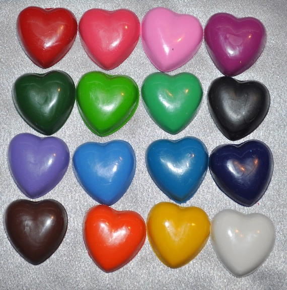 Recycled Crayons Heart Shaped - Total of 16 Hearts.  Boy or Girl Kids Unique Party Favors, Crayons.