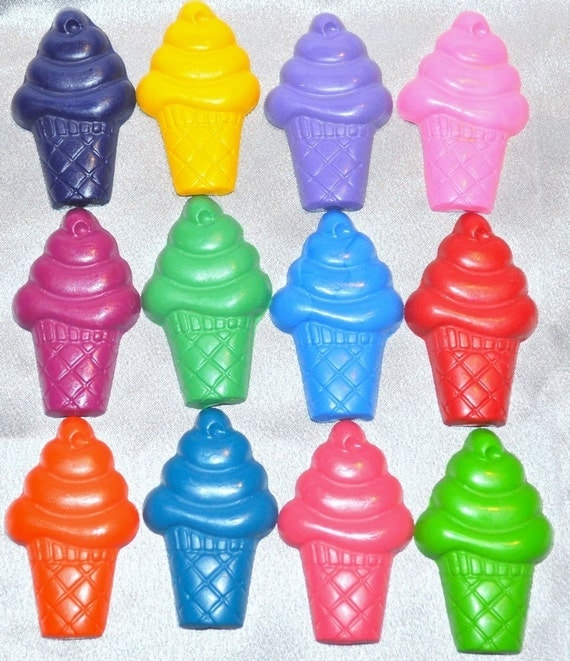 Ice Cream Crayons, Ice Cream Party Favors, Recycled Crayons Ice Cream Cones Shaped Total of 24.  Boy or Girl Unique Party Favors, Crayons.