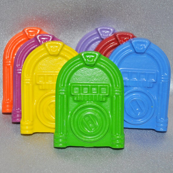 Recycled Crayons Jukebox Shaped Total of 7 Crayons.  Boy or Girl Kids Unique Party Favors, Crayons.