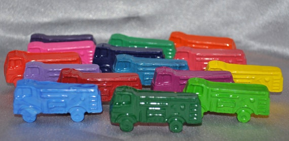 Sensory Fire Truck Recycled Crayons, Total of 15.  Boy or Girl Kids Unique Party Favors, Crayons.