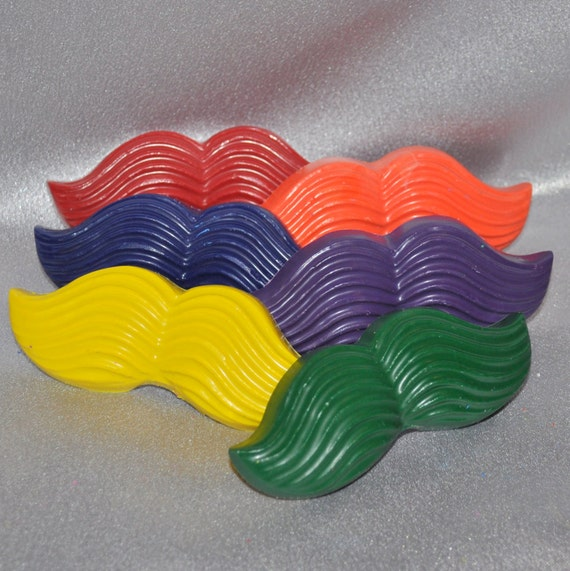 Recycled Crayons Mustache Shaped Total of 6.  Boy or Girl Kids Unique Party Favors, Crayons.