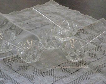 Antique Crystal Salts with Glass Spoons