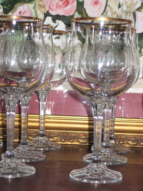 """50""""s Vintage Cut Stem Gold Rimmed Crystal Water/Wine Goblets"""