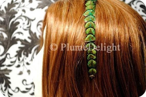 HUGE SUMMER SALE - LUCKY GREEN - Scalloped Peacock Feather Headband