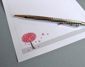 Stationery Letter Writing Paper Refills Set, Red Blossom Tree Flowers