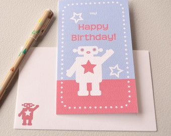 Happy Birthday Card - Robot Girl