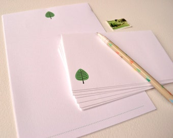 Stationery Set Refills - Little Tree Design - Writing Paper Refills - Letter Writing Paper - Woodland Notepaper - Green Tree Illustration