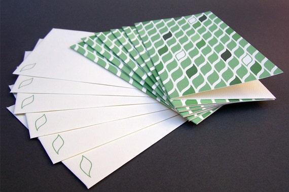 Green Leaf Pattern Cards (6)