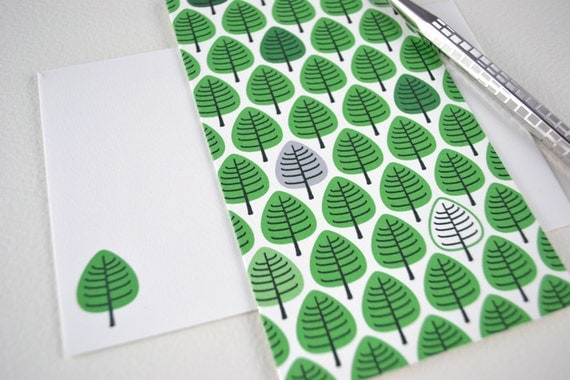 Woodland Forest Cards. Little Green Tree Card Set of 6