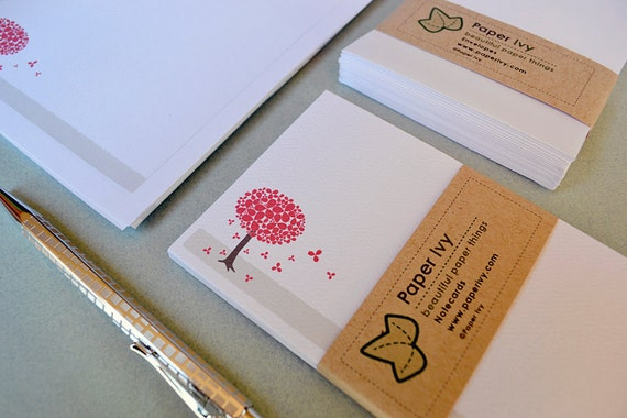 Boxed Stationery Set - Letter Writing Set - Red Blossom Tree Design