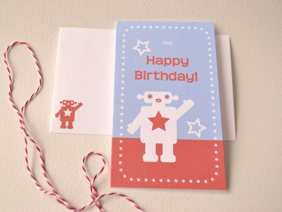 Happy Birthday Card - Boys Birthday Card - Minimalist Robot Boy