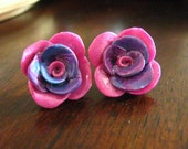 Polymer Clay Rose Earrings - Cotton Candy Pink and Purple Hand Sculpted Clay Post Earrings For Sensitive Ears - Rose Flower Jewelry