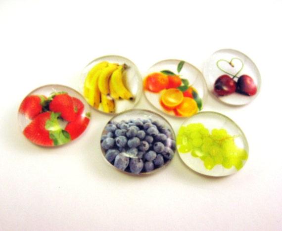 6 Handmade Glass Fruit Magnets