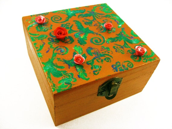 Jewelry Holder, Hand Painted Jewelry Box, Bracelet Holder, Polymer Clay Rose, Red Rose Jewelry box, Paisley Pattern Copper Jewelry Holder